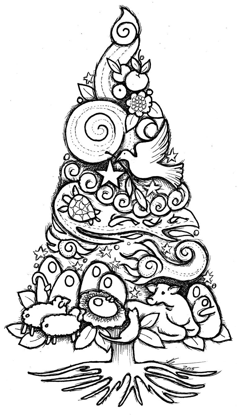 Trees Coloring Sheets: Advent-Christmas Theme